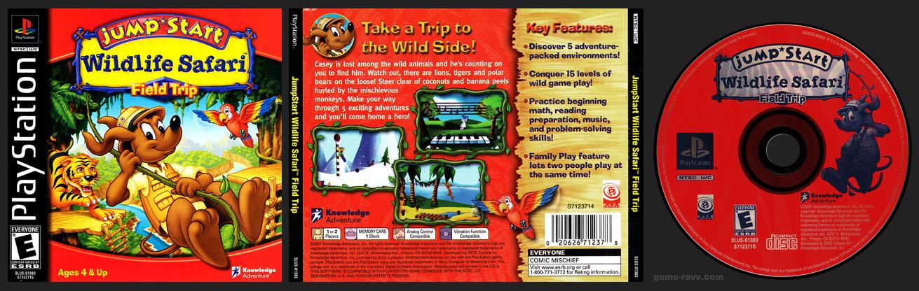 PSX PlayStation JumpStart Wildlife Safari Field Trip 1 Ring Black Label Retail Release