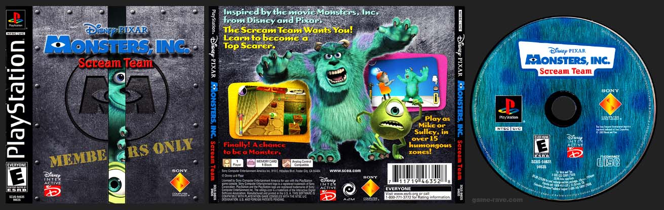 PSX PlayStation Disney Pixar Monster Inc Scream Team
