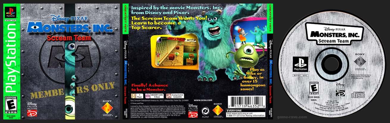 PSX PlayStation Disney / Pixar Monsters Inc Scream Team Greatest Hits Variant