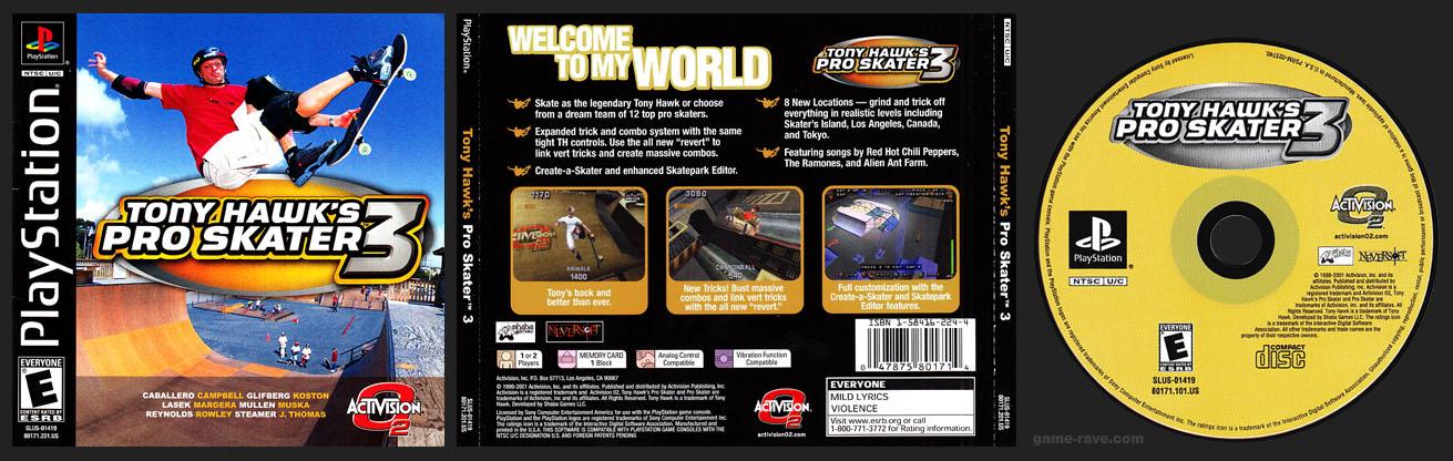 PSX PlayStation Tony Hawk's Pro Skater 3 Black Label Retail Release
