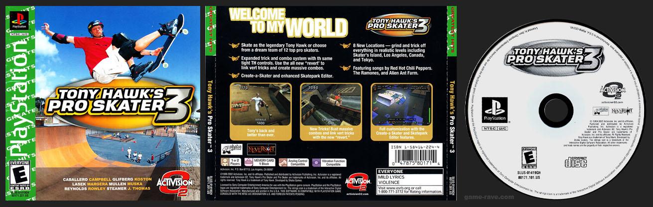 PSX PlayStation Tony Hawk's Pro Skater 3 Greatest Hits Variant